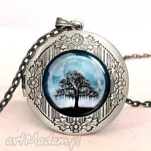 księżycowe drzewo - sekretnik z łańcuszkiem, księżycowe, drzewo, księżyc, pełnia