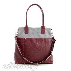 Fiella - duża torba szara plecionka i burgund na ramię incat