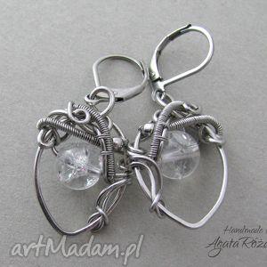 Kolczyki Kryształ Górski - stal chirurgiczna, wirewrapping, kolczyki, kryształ