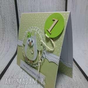zaproszenie kartka balonikowa sówka w zieleni - sówka, urodziny, roczek