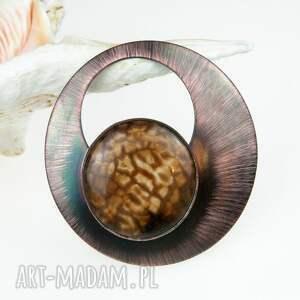 naszyjnik z miedzi agatem c406, bizuteria agatem, miedziany