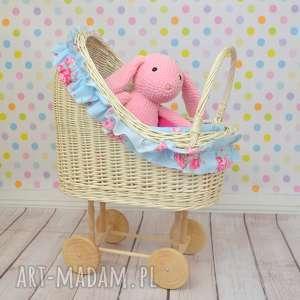 Wiklinowy wózek dla lalek retro róże, wózek, wiklina, błękit, retro, róż