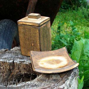 Rustykalny komplet łazienkowy, pojemnik, mydelniczka, kubek, łazienka, postarzane,