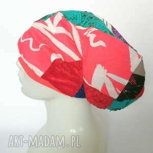 czapka damska smerfetka szyta patchworkowy. na podszewce, obwód głowy