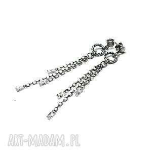 wianki / crystal/ - kolczyki, srebro, oksydowane, cyrkonie, wianki, łańcuszki