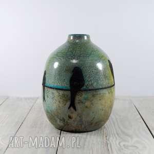 wazon raku jaskółki, raku, ceramika technika ptaszki