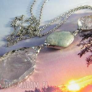 wisior z łańcuszkiem kryształowy akwamarynem, długi naszyjnik, kamieni