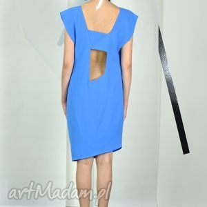 VOLANDA - szafirowa sukienka, wizytowa, wycięcia, oryginalna, letnia