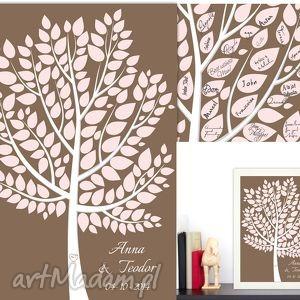 Eleganckie drzewo wpisów gości weselnych - księga w formie plakatu 60x90 cm
