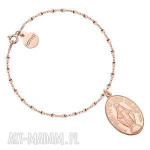 ręcznie robione bransoletki bransoletka z różowego złota z medalikiem