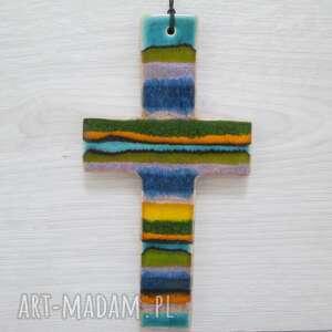 ręcznie wykonane dekoracje kolorowy krzyżyk ceramiczny
