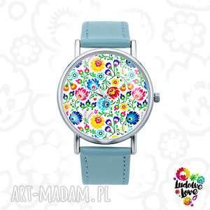 zegarki zegarek z grafiką folk, polskie, wzory, ludowe, modny, dodatek, kwiaty