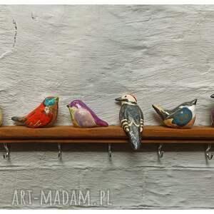 świąteczny prezent, wieszak ptasie radio, ceramika, wieszak, drewno, ptaszki