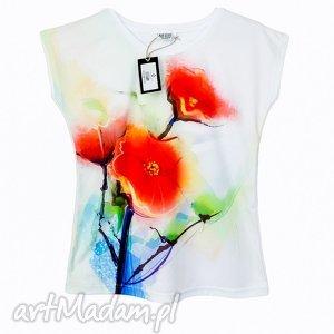 artystyczna bluzka damska - abstrakcyjne maki wysoka jakość l/xl, kwiatowa