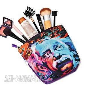Kosmetyczka wodoodporna Albert Einstein akwarela, duża kobieca kosmetyczka, kolorowa