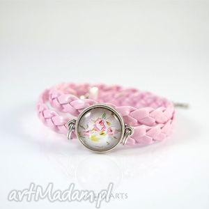 handmade bransoletka - pastelowy róż owijana, rzemień