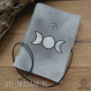 Notes A6 ze skórzaną miękką okładką Trójksiężyc i Wielki Wóz - ręcznie robiony m