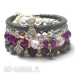bransoletki violet and grey vol 3 /04 06 17/ set, jadeity, szkło, skóra, rzemień