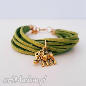 słonik na szczęście - ,słoń,słonik,bransoletka,szczęście,zamszowa,rzemyk,