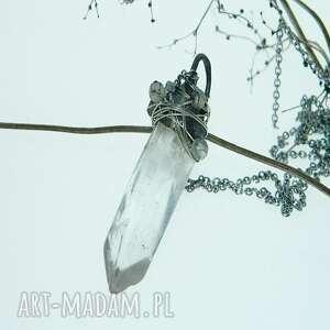 wisiorki surowy sopel kryształu z agatami, wisior kryształ górski