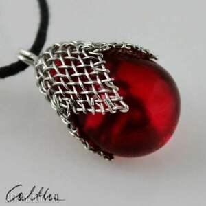 czerwony w siateczce - wisiorek, wisior, kropla, naszyjnik, szklany, łezki