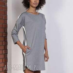 sportowa sukienka z lampasami, suk150 szary, lampasy, sukienka, oversize, luźna