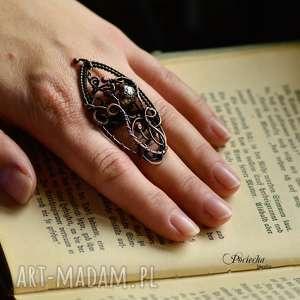 MAGIC MOON - DUŻY PIERŚCIONEK, pierścionek, dyży-pierścionek, miedź, wire-wrapping