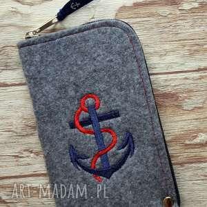 etui filcowe na telefon - kotwica, pokrowiec, smartfon, styl marynarski, haft