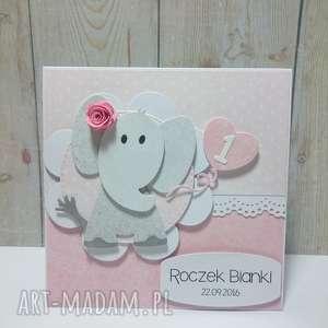zaproszenie kartka słonik na kwiatuszku - słonik, zaproszenie, urodziny