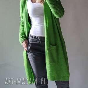 kardigan z kieszeniami, sweter, kardigan, długi, uniwersalny, damski, klasyczny
