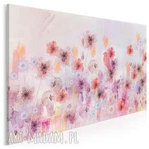 obraz na płótnie - kwiaty łąka ptak różowy 120x80 cm 86501, kwiaty