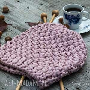 Czapka handmade jasnoróżowa, czapka, wełna, zrobiona-na-drutach, ciepła