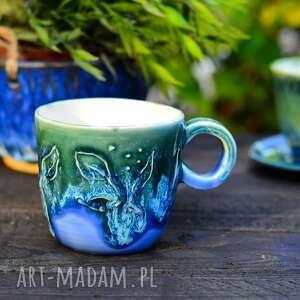 Porcelanowy kubek do espresso, kubeczek kawy, niebiesko zielony