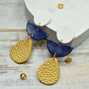 modne i nowoczesne kolczyki geometric - biel, złoto granat, długie