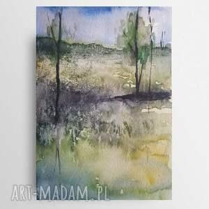 zielony pejzaż -praca wykonana farbą akwarelową formatu a5, akwarela, papier