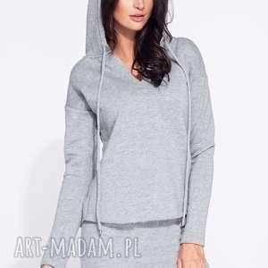 Bluza z kapturem damska wykończona na surowo Bien Fashion, kaptur, taliowana, dresowa