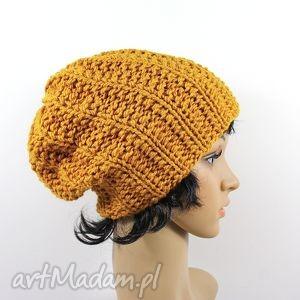 czapka złoto-pomarańczowa, czapka, unisex, dziergana, zima, uszy, głowa
