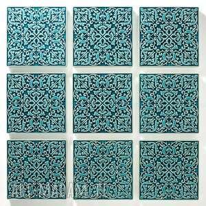 dekory ADAGIO turkusowe do zawieszenia, 9 sztuk, kafle, dekory, kafelki, płytki