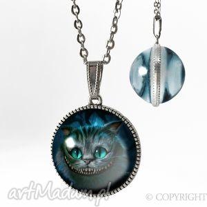 kulisty dwustronny medalion - alicja w krainie czarów, naszyjnik, kot