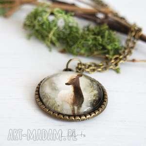 medalion, naszyjnik - sarna 2 antyczny brąz, naszyjnik, sarna, leśny
