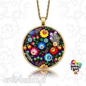 medalion okrągły ludowy - folk, folklor, polski, etniczne, kwiaty, łowickie