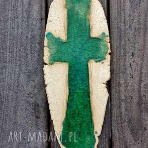 Krzyżyk na ścianę ceramika i szkło 15, krzyż, krzyżyk, szkło, fusing, szamot
