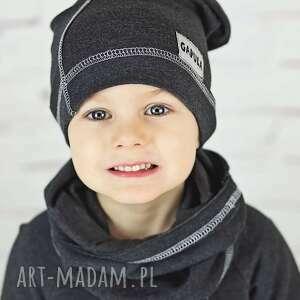 Wiosenna czapka smerfetka -grafit czapki gapula modna,