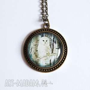 medalion, naszyjnik - biała sowa duży, antyczny brąz, naszyjnik, medalion