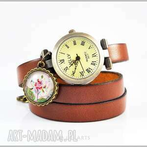 Bransoletka, zegarek - Retro róża - brązowy, skórzany,