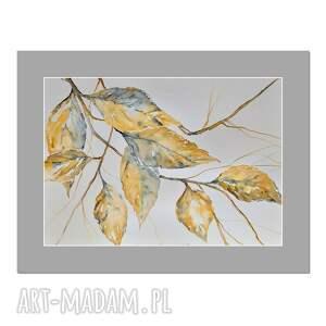 jesienne liście /1/, akwarela, obraz