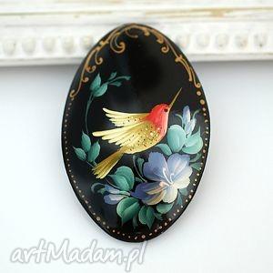 ♥ręcznie malowana drewniana broszka♥ madamlili - malodiwło