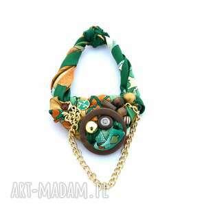 GOLDEN GREEN naszyjnik handmade, naszyjnik, kolorowy, zielony, złoty