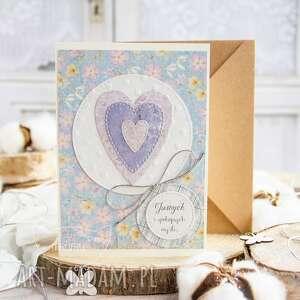 patchworkowe serce kartka urodzinowa miłosna dla bliskiej osoby