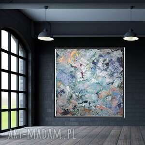 Obraz ręcznie malowany na płótnie 80x80 byferens duży obraz